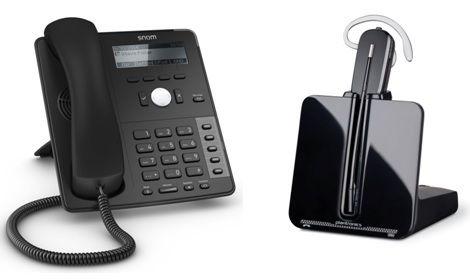 Snom D715 SIP Telefon für FritzBox inkl. schnurlosem Headset Plantronics CS540