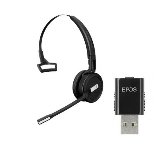 Epos IMPACT SDW 5011 monaurales Headset inkl. USB DECT Dongle, Ladekabel & Tasche