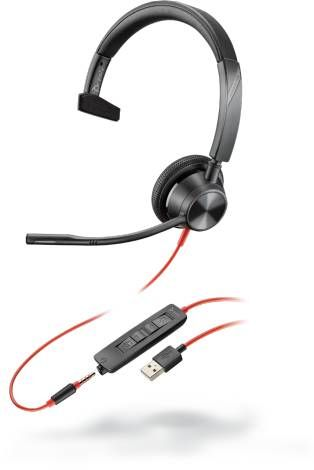 Poly Blackwire 3315-M Headset, monaural, kabelgebunden, USB-A und 3,5 mm Klinke, Microsoft Teams Taste
