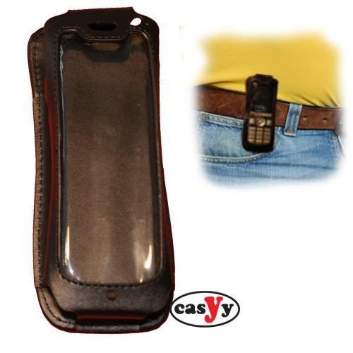 CasYy Ledertasche für Avaya DECT 3725 , schwarz
