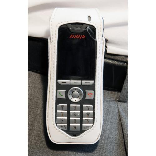 CasYy Ledertasche für Avaya DECT 3720 mit Rotationsclip, weiß