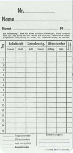 Zeitregistrierkarten Monatskarte 5818