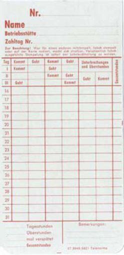 Zeitregistrierkarten Monatskarte 5821
