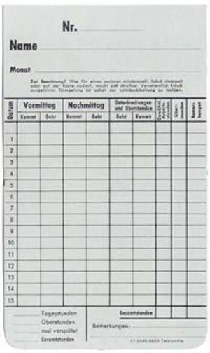 Zeitregistrierkarten Monatskarte 5823