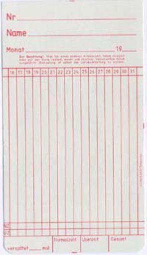 Zeitregistrierkarten Monatskarte 5824