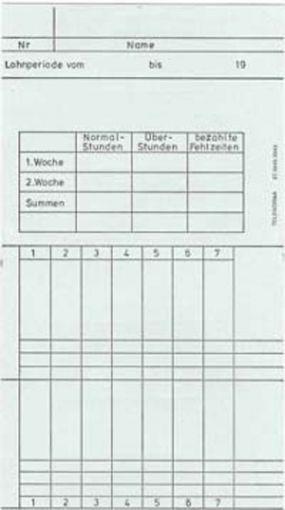 Zeitregistrierkarten, 2 Wochen-Karten 5843