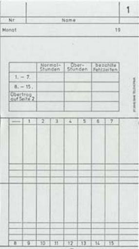 Zeitregistrierkarten Monatskarte 5845