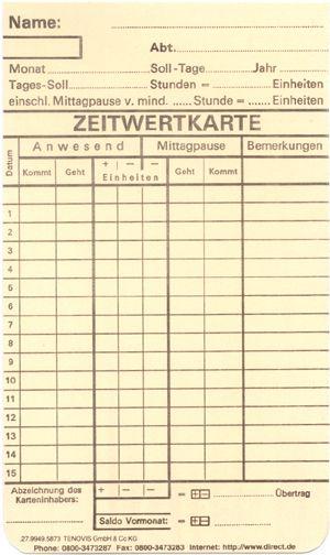 Zeitregistrierkarten Monatskarte 5873