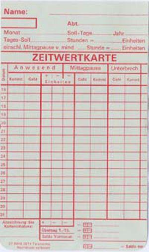 Zeitregistrierkarten Monatskarte 5874