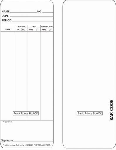 Zeitregistrierkarten für Isgus Perfect, 5882