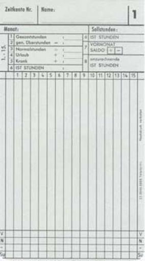 Zeitregistrierkarten Monatskarte 5888