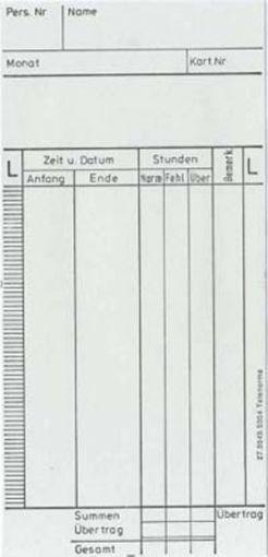 Zeitregistrierkarten Monatskarte 5904