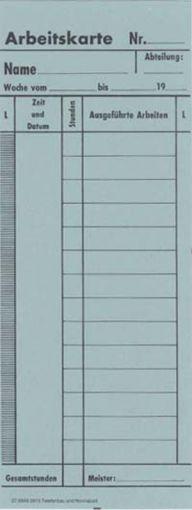 Zeitregistrierkarten, Arbeitskarte f. TR, 5915