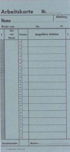 Zeitregistrierkarten, Arbeitskarte f. TR, 5916