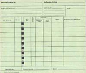 Zeitregistrierkarten, Werkstattauftrag 5978