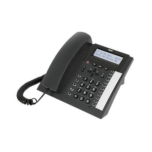 tiptel 2030 Komfortables ISDN-Telefon mit Anrufbeantworter und CTI-Funktion, anthrazit