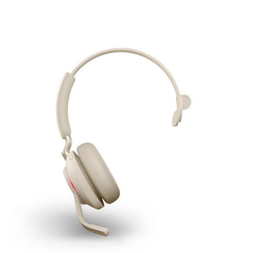 Jabra Evolve2 65 monaural MS USB-C Bluetooth Headset Beige Busy Light