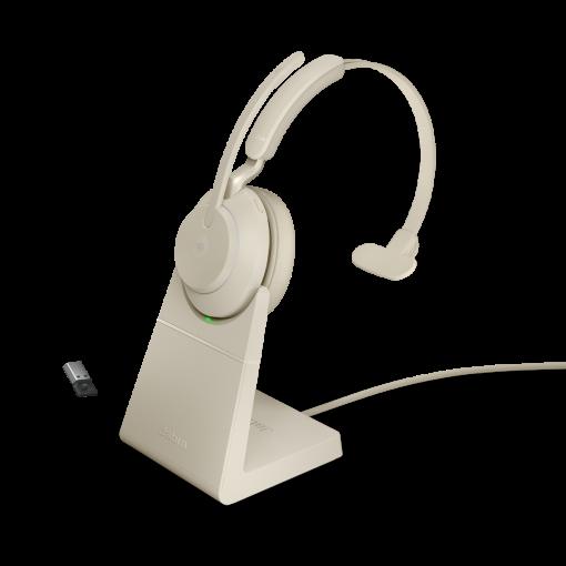 Jabra Evolve2 65 monaural UC USB-A Bluetooth Headset inklusive Ladestation Beige