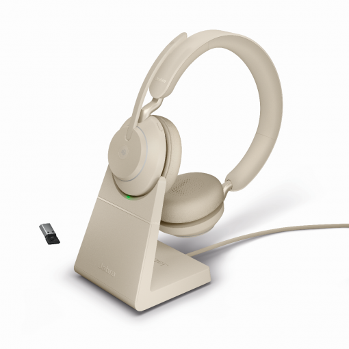 Jabra Evolve2 65 Stereo UC USB-A Bluetooth Headset inklusive Ladestation Beige