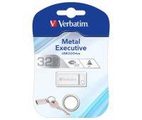 VERBATIM USB 2.0 Stick 32GB, Metal Executive, Silber