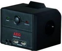 AEG - 3-fach Übersp.-schutzsteckdose Master/Slave Funktion und USB Ladefunktion