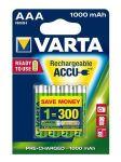 VARTA Rechargeable Akku AAA Micro 4er 1000mAh (Entladeschutz)